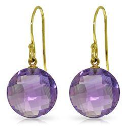 Genuine 12 ctw Amethyst Earrings Jewelry 14KT Yellow Gold - REF-24P4H