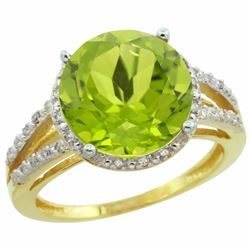 Natural 5.19 ctw Peridot & Diamond Engagement Ring 14K Yellow Gold - REF-52M7H