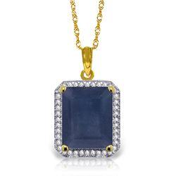 Genuine 6.6 ctw Sapphire & Diamond Necklace Jewelry 14KT Yellow Gold - REF-103N5R