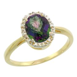Natural 1.22 ctw Mystic-topaz & Diamond Engagement Ring 10K Yellow Gold - REF-20R3Z