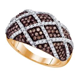 1.34 CTW Cognac-brown Color Diamond Cocktail Ring 10KT Rose Gold - REF-75X2Y