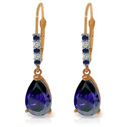 Genuine 3.18 ctw Sapphire & Diamond Earrings Jewelry 14KT Rose Gold - REF-47A2K