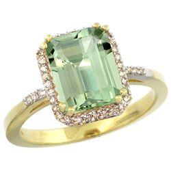 Natural 2.63 ctw green-amethyst & Diamond Engagement Ring 10K Yellow Gold - REF-32G7M