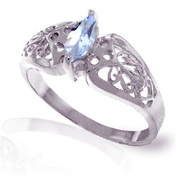 Genuine 0.20 CTW Aquamarine Ring Jewelry 14KT White Gold - REF-48W3Y