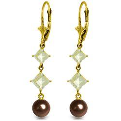 Genuine 6.5 ctw Black Pearl & Aquamarine Earrings Jewelry 14KT Yellow Gold - REF-45Z8N