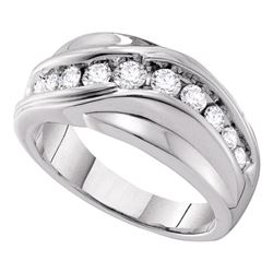 0.99 CTW Mens Diamond Curved Wedding Ring 14KT White Gold - REF-142W4K