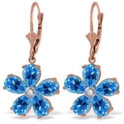 Genuine 4.43 ctw Blue Topaz & Diamond Earrings Jewelry 14KT Rose Gold - REF-49P8H