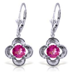 Genuine 1.10 ctw Pink Topaz Earrings Jewelry 14KT White Gold - REF-38V2W