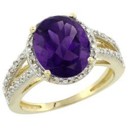 Natural 3.47 ctw Amethyst & Diamond Engagement Ring 14K Yellow Gold - REF-46K3R