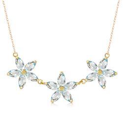 Genuine 4.2 ctw Aquamarine Necklace Jewelry 14KT Yellow Gold - REF-64W3Y
