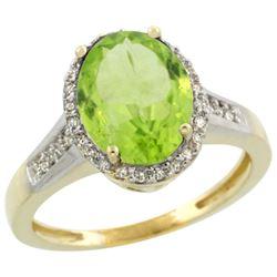 Natural 2.49 ctw Peridot & Diamond Engagement Ring 10K Yellow Gold - REF-36X5A