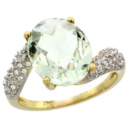 Natural 6.45 ctw green-amethyst & Diamond Engagement Ring 14K Yellow Gold - REF-54Y3X