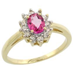 Natural 0.67 ctw Pink-topaz & Diamond Engagement Ring 14K Yellow Gold - REF-48A6V