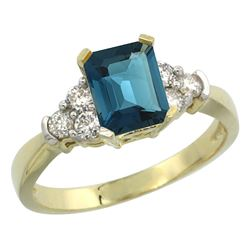 Natural 1.48 ctw london-blue-topaz & Diamond Engagement Ring 10K Yellow Gold - REF-43X5A