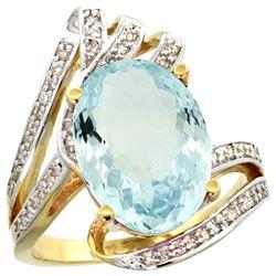 Natural 5.78 ctw aquamarine & Diamond Engagement Ring 14K Yellow Gold - REF-122M4H