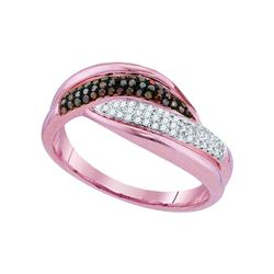 0.25 CTW Red Color Diamond Ring 10KT Rose Gold - REF-37N5F