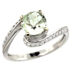 Natural 0.99 ctw green-amethyst & Diamond Engagement Ring 10K White Gold - REF-42Y2X