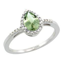 Natural 1.53 ctw green-amethyst & Diamond Engagement Ring 10K White Gold - REF-18F9N