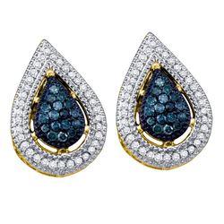 0.40 CTW Blue Color Diamond Teardrop Cluster Earrings 10KT Yellow Gold - REF-34F4N