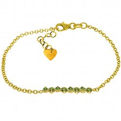 Genuine 1.55 ctw Peridot Bracelet Jewelry 14KT Yellow Gold - REF-55T3A