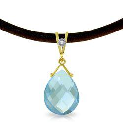 Genuine 6.51 ctw Blue Topaz & Diamond Necklace Jewelry 14KT Yellow Gold - REF-26Y9F