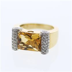 4.49 CTW Citrine & Diamond Ring 14K 2Tone Gold - REF-67M7F