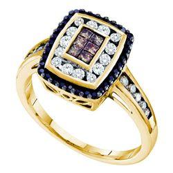 0.50 CTW Princess Cognac-brown Black Color Diamond Cluster Ring 14KT Yellow Gold - REF-49W5K