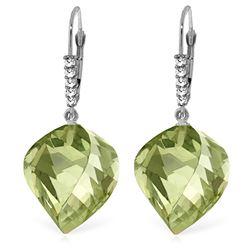 Genuine 26.15 ctw Amethyst & Diamond Earrings Jewelry 14KT White Gold - REF-61K6V