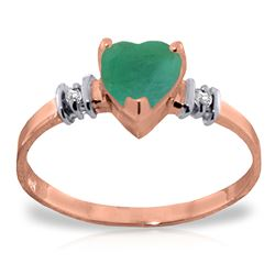 Genuine 1.03 ctw Emerald & Diamond Ring Jewelry 14KT Rose Gold - REF-37X6M