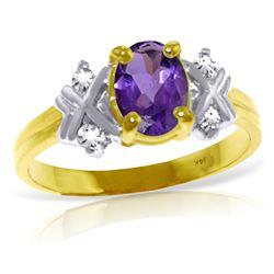 Genuine 0.97 ctw Amethyst & Diamond Ring Jewelry 14KT Yellow Gold - REF-59T2A