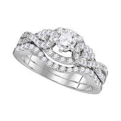 1 CTW Diamond Woven Bridal Wedding Engagement Ring 14k White Gold - REF-142Y4X