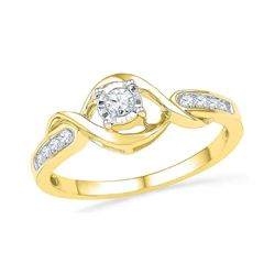 0.16 CTW Diamond Solitaire Promise Bridal Ring 10KT Yellow Gold - REF-22N4F