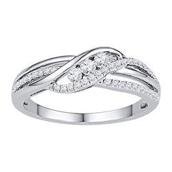 0.25 CTW Diamond 3-stone Bridal Engagement Ring 10KT White Gold - REF-26N9F