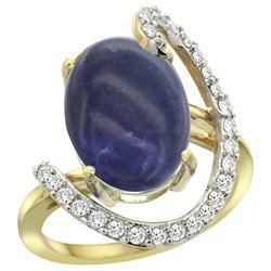 Natural 4.91 ctw Lapis & Diamond Engagement Ring 14K Yellow Gold - REF-85G7M