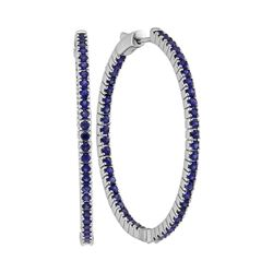 3.75 CTW Blue Sapphire In/Out Hoop Earrings 14KT White Gold - REF-134H9M