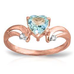Genuine 0.96 ctw Blue Topaz & Diamond Ring Jewelry 14KT Rose Gold - REF-41W4Y