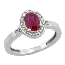 Natural 0.98 ctw Ruby & Diamond Engagement Ring 10K White Gold - REF-38M2H