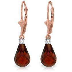 Genuine 4.6 ctw Garnet & Diamond Earrings Jewelry 14KT Rose Gold - REF-30M2T