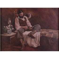 Dan McCaw, oil on board, F.B. Scott, oil on canvasboard