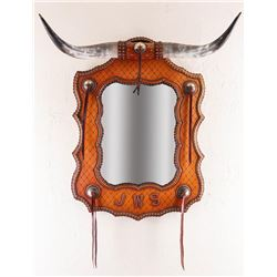 "Leather Longhorn Mirror, 41"" tall"
