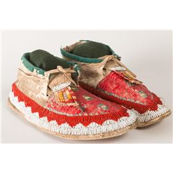 "Sioux Beaded and Quilled Man's Moccasins, 11"" long"