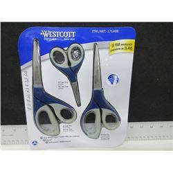 New set of 3 Westcott Titanium Scissors / stays sharper longer than stainless