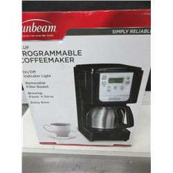 New Sunbeam 5 cup programmable Coffee Maker/ 1hr shut off / stainless