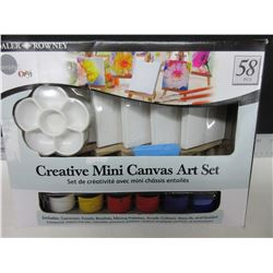 New Mini Canvas Art Set / 58 pc. / 6 canvas-Easels- 12 paints and more