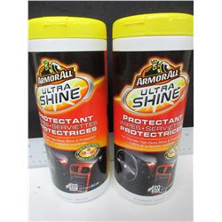 2 New ArmorAll Ultra Shine Protectant wipes / 20 per can