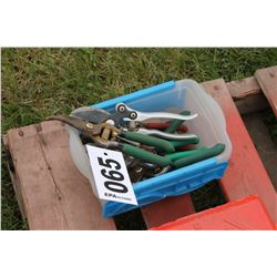 BOX WITH ASSORTED SNIPS & TOOLS
