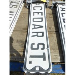 """CEDAR ST"" METAL ROAD SIGN & BRACKET"