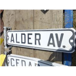 """ALDER AVE"" METAL ROAD SIGN & BRACKET"