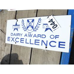 DAIRY AWARD OF EXCELLENCE METAL SIGN