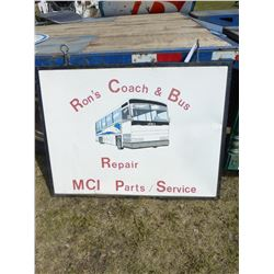 RON'S COACH AND BUS FRAMED METAL SIGN